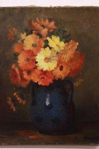 Dipinto olio su tela raffigurante vaso di fiori firmato painting oil on canvas