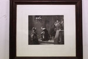 Imprimir 1.840 siglo XIX. con la impresión entorno histórico vidrio y el marco que representa