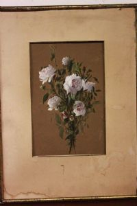 Quadro acquerello e tecnica mista con vetro e cornice raffigurante fiori