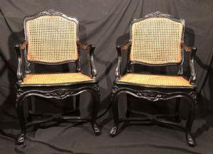 "Couple of ebony French armchairs France early twentieth century"""