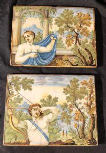 """Coppia di mattonelle """"Castelli Cappelletti"""" del XVIII secolo"""