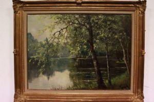 """Paysage peinture à l'huile sur toile avec cadre doré, signé / image / peinture"""""""