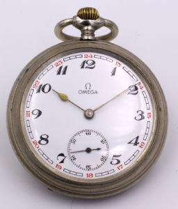 """Omega metal pocket watch, early 1900s"""""""
