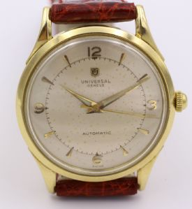 "Universal Universal Geneve wrist watch (bumper) in 18k gold. 50's"""