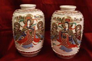 Coppia di vasi Japan giapponesi Satsuma couple anni '50 japanese ceramica