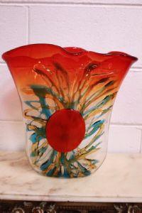 Vaso in vetro di Murano originale firmato Sergio Costantini con certificato