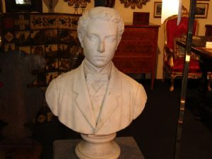 Stylish white marble neoclassic bust, great condition""