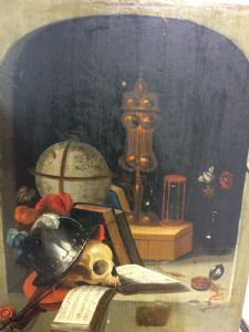 Oil painting on wood depicting Vanitas