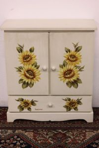 Cabinet cabinet with doors and drawer in ivory white wood painted by hand
