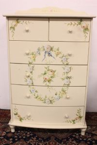 Drawer cabinet in white wood hand painted handmade furniture