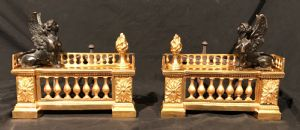 Pair of andirons in ormolu and burnished France early nineteenth