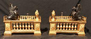 Coppia di alari in bronzo dorato e brunito Francia primi dell'ottocento