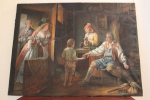 Pastel on paper, interior scene, France, 19th century