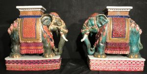 Pair of porcelain elephants in the late eighteenth century""