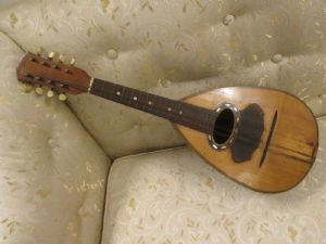 """érable mandoline napolitaine ancienne et bois de rose - fin 800 - signé Bocciarelli"""""""