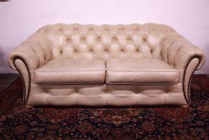 Bel Divano Chesterfield / Chester 3 Posti Originale inglese in pelle color panna