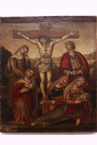 """Antique painting crucifixion Christ '500 XVI century oil painting on canvas"""""""