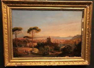 Ercole Gigante 1815-1860 olio su carta Napoli dal campo
