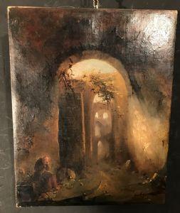 Vincenzo Abbati 1803-1866 Monaco sotto antiche rovine olio su prima tela