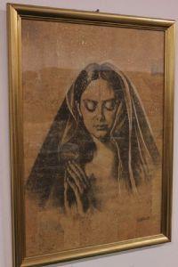 Imprimir numerados y firmados con la mujer vidrio y el marco que representa con velo / maria