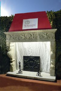 Carved stone fireplace