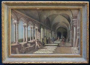 XIX secolo, Veduta prospettica di chiostro, Tecnica mista, cm 23,5 x 34,5; con cornice cm 32x43