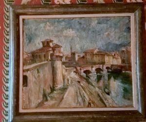 """Salvatore Pizzarello """" Veduta del Ponte della Fortezza """"1937"""
