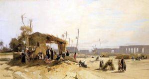 Hermann Corrodi - Veduta dell'acquedotto romano in Tunisi (Cartagine) con sosta di beduini