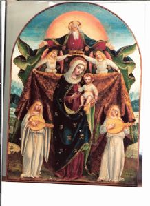 Madonna col bambino incoronata da angeli, attr. a Ambrogio Bergognone, dell'ultimo decennio del 400' cm. 60 x 45