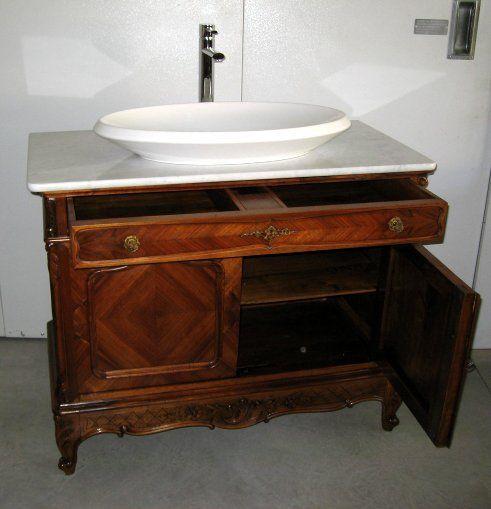 Mobile bagno in noce con lavabo inizi 1900 for Mobili antichi usati
