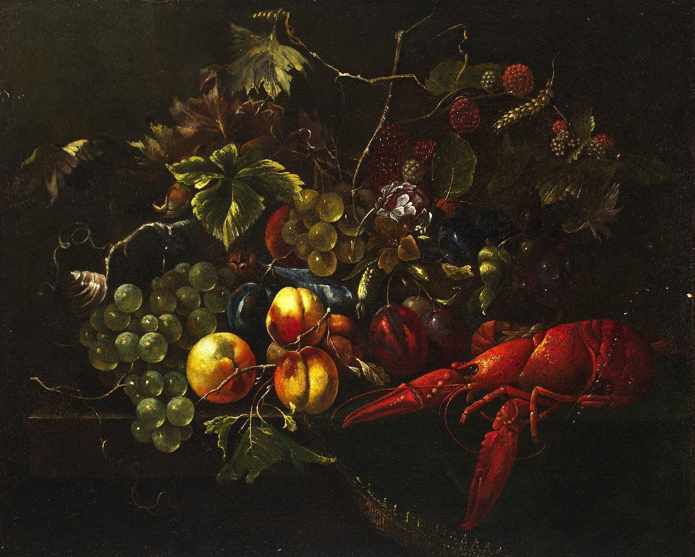 thumb2|S - Natura morta con frutta e aragosta - Pittore fiammingo del XVII secolo - VENDUTO