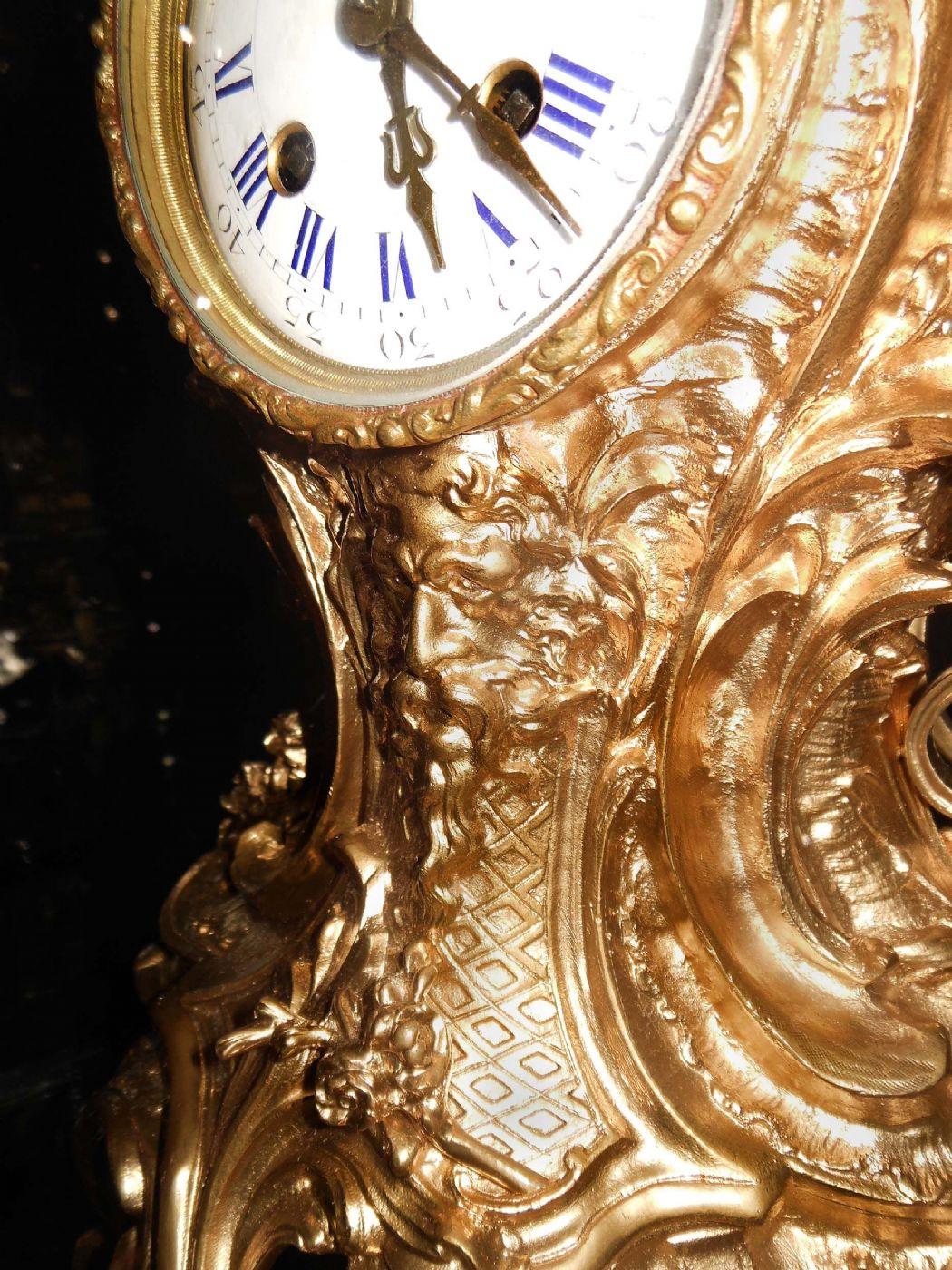 Lampade Da Tavolo Antiche Francesi : Orologio francese in stile barocco bronzo dorato e