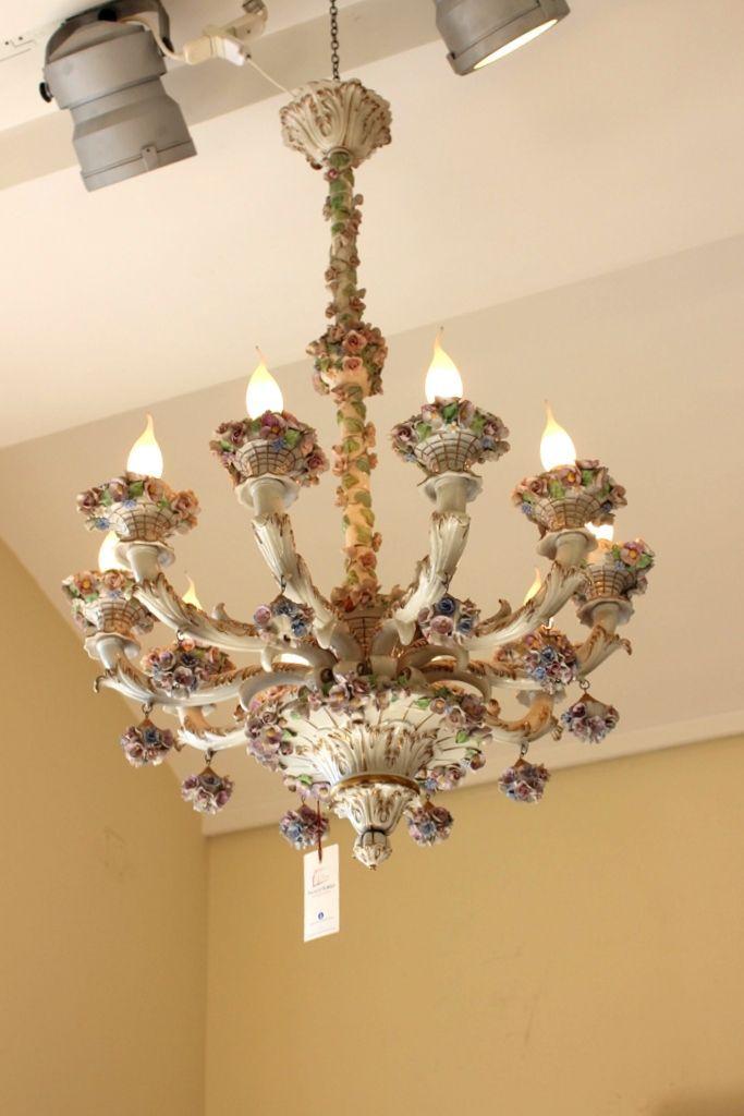 Lampadario in porcellana dipinta Antiquariato su Anticoantico -> Lampadari Antichi In Porcellana