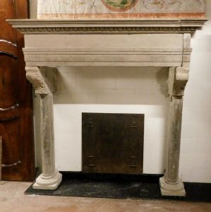 chp266 sixteenth-century stone fireplace in sandstone, h 194 x larg. cm 182""