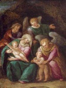 Girolamo Marchesi da Cotignola (1481–1550) - Die heilige Familie mit dem Johannesknaben und zwei Engeln