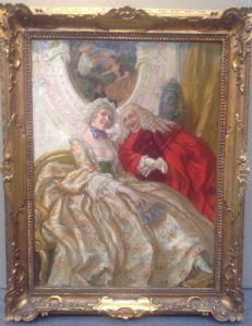Vittorio Emanuele Bressanin, Musile di Piave 1860 - Venezia, 1941 Scena di corteggiamento, olio su tavola cm.63 x 43