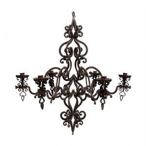 Wrought iron chandelier with 6 small lights""