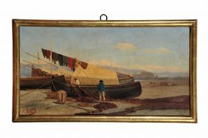 """Jotti Carlo (Milano, 1825-1906)  """" Riva di Cornigliano - Dopo la pesca"""""""
