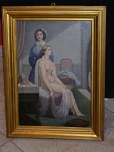 Nude lady with maid