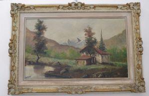 Quadro - dipinto a olio su tela paesaggio montano - primi 900 - firmato Martini