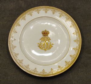 Dessert plate of Crown Princess Stephanie of Austria (1864-1945), daugther-in-law of Kaiserin SISSI (Elisabeth of Austria), Pirkenhammer Plate