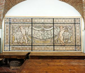 "Grande têmpera painel decorativo em papel Galileo Chini"""