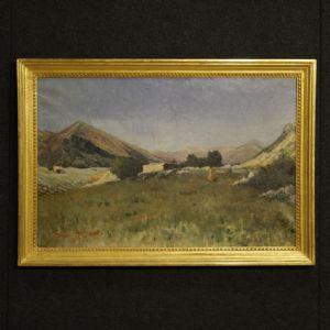 """Vieille peinture paysage italien avec chasseur en date de 1899"""""""