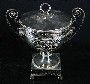 Silver sugar pot with cover - A. M. D. 1798-1809