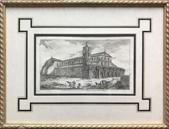 Incisione San Paolo Fuori Le Mura a Roma XVIII secolo