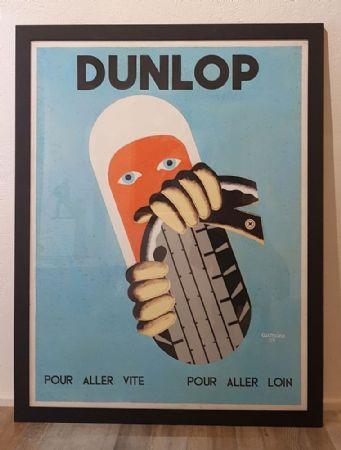 """Manifesto Auto Pneumatici """"Dunlop"""" Anni '55 firmato Aumoine"""