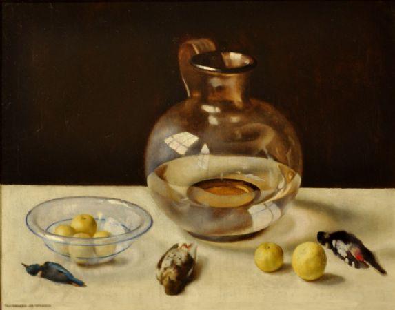 Natura morta con frutti, vetri e uccelli, 1925 circa