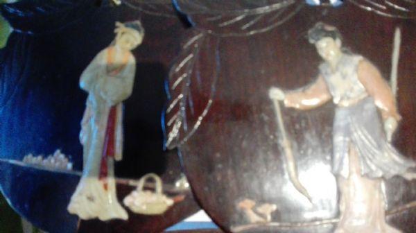 coppia piccoli pannelli con intarsi in avorio  pietre dure