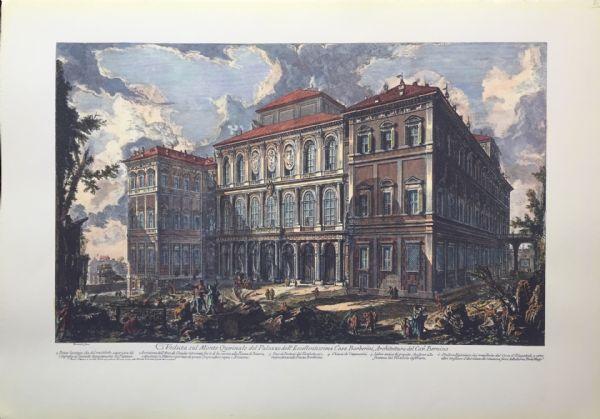 """""""Veduta sul Monte Quirinale del Palazzo dell'Eccellentissima Casa Barberini"""" - fine XIX sec. - stampa Piranesi"""