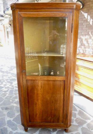 ANGOLIERA CANTONALE CON VETRINA PERIODO CARLO X MODENA 1840-50